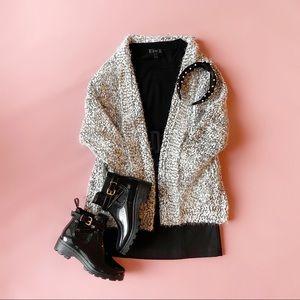 b&w fuzzy sweater